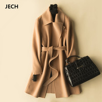 Winter Long Women Cashmere Wool Vintage Coats JECH Autumn Jacket with Belts Female Casual V Neck Straight Wool Warm Coats Dress