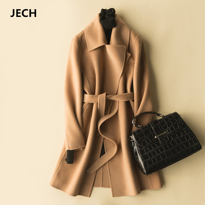 Winter Long Women Cashmere Wool Vintage Coats JECH Autumn Jacket with Belts Female Casual V-Neck Straight Wool Warm Coats Dress