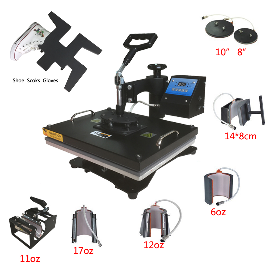Multifunctional digital 9 in 1 Heat Press Machine for print T-shirt/Mug/Cup/Plate/Hat/Flat/Shoes/Sock/ Glove heat press machine digital press digital technical journal no 9 pr only