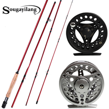 Sougayilang 2.7m Fly Fishing Rod with Silver Black Reel 4 Sections Red Carbon Fiber Material Fly Fishing Set Fly Rod Bamboo