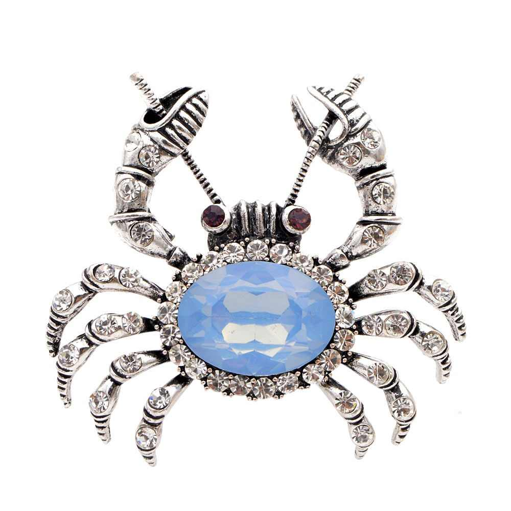 CINDY XIANG 2 Colors Available Rhinestone Crab Brooches for Women Fashion Vintage Animal Pins Cute Accessories High Quality Gift