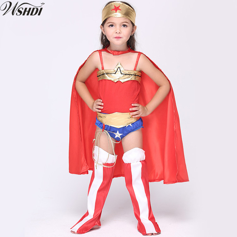 2018 New Kid Superhero Costume Halloween Superman Wonder Woman Children Party Cosplay Costumes Gift For Girls Clothes