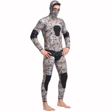 Фотография Men Plus Size Diving Wetsuit Keep Warm 5mm Neoprene Two Pieces Full Suit Blind Stitching Jumpsuit Surfing Suit Camouflage Gray
