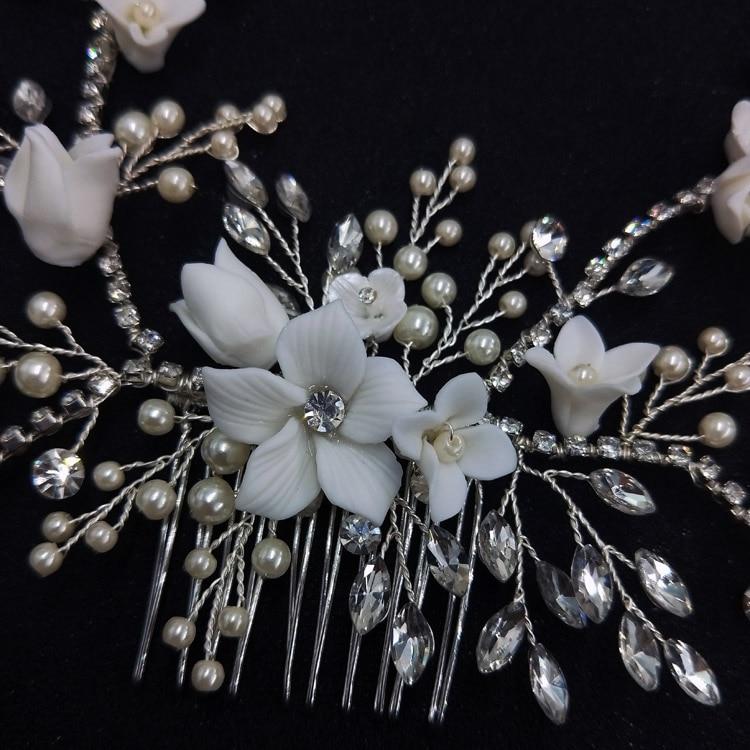 5 sposa Prom PINK PEARL CON CRISTAL Capelli Pin Clip Grip handmade