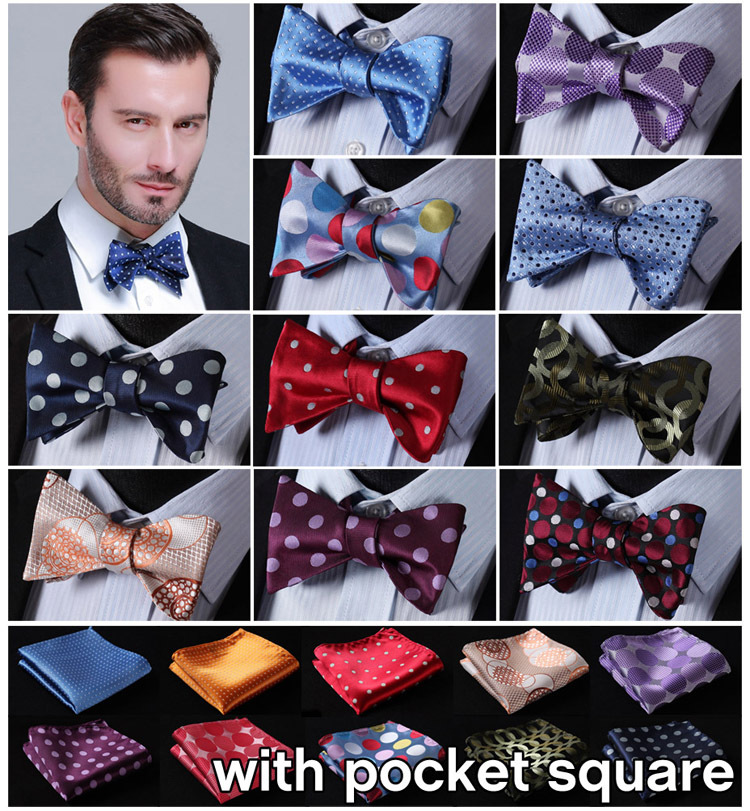 Boys Banded On Bow Ties Solid Elegant Bow Ties for Boys with Matching Handkerchief Bow Ties with Gift Box