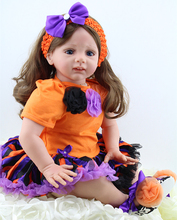 24 inch New Style Halloween Holiday Gift Doll Pumpkin Dressed Reborn Toddler Girl Doll for Girls Holiday Gift