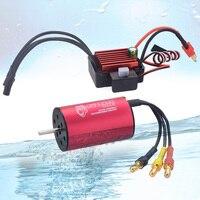 2440 4000KV Waterproof Sensorless Brushless Motor with 35A ESC for 1: 14 / 1:16 / 1:18 RC Model Car Black Red