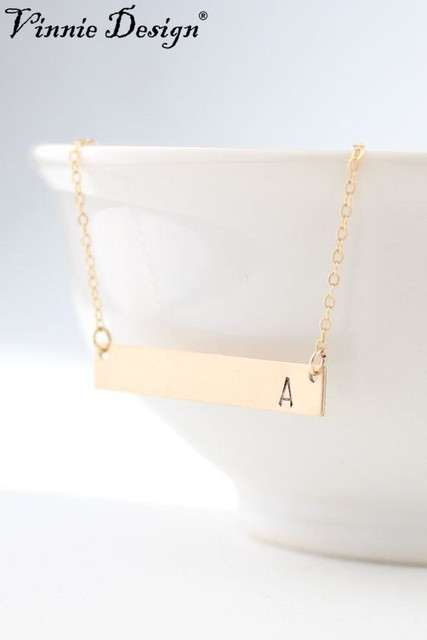 Vinnie design jewelry 40cm gold color bar necklace personalized vinnie design jewelry 40cm gold color bar necklace personalized engraved letter initial necklace pendant necklaces for aloadofball Image collections