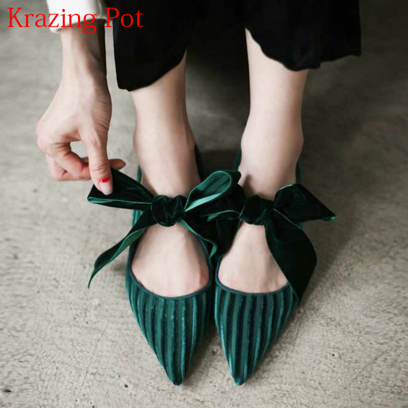 2018 New Fashion Brand Spring Shoes Velvet Bowtie Preppy Style Pointed Toe Flats Fairy Beauty Sweet Office Lady Casual Shoes L36 plus size 34 41 black khaki lace bow flats shoes for womens ds219 fashion round toe bowtie sweet spring summer fall flats shoes