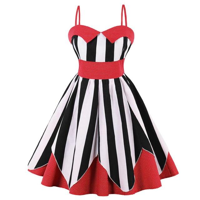 508f88a5c43 Women summer dress polka dot dress contrast color black and white vertical  stripes patchwork dresses robe vestidos plus size 4XL