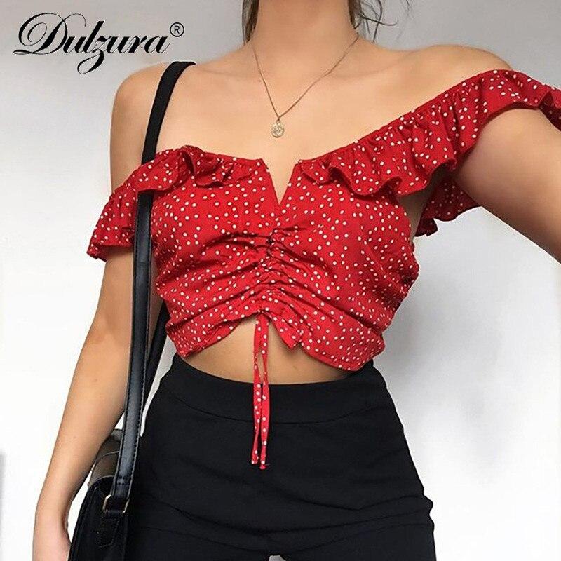 Dulzura Polka Dot Crop   Top   2018 summer women sexy backless off shoulder shirt Ruffle Sleeveless   tank     top