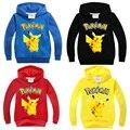 Winter Sweatshirt Cotton Cartoon POKEMON GO Pikachu Kids Boys Girls Clothes Long Sleeve Pullover Hoodies Retail Sale 1 pcs