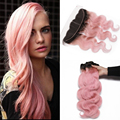 8A Brazilian Human Virgin Hair Body Wave 3 Bundles With Ear to Ear 13x4 Lace Frontal Closure Ombre #1B/pink Natural Hairline