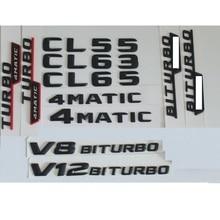 3D Matt Black Trunk Letters Badge Emblem Emblems Badges Sticker for Mercedes Benz CL55 CL63 CL65 V8 V12 BITURBO AMG 4MATIC