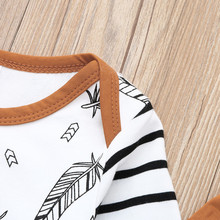 MUQGEW Winter Baby  Newborn Baby Boy Girl Clothes Feather T shirt Tops Striped Pants Clothes Outfits Set vetement enfant fille