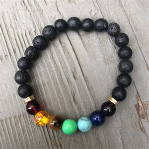 Image 4 - New Buddha Bless Lose Weight Chakra Bracelet Men Black Lava Healing Balance Beads Reiki Prayer Natural Stone Bracelet For Women