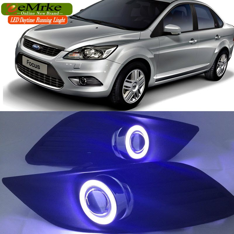 eeMrke For Ford Focus 2007-2011 Halogen Fog Light COB LED Angel Eyes DRL Daytime Running Lights with Projector Lens aftermarket free shipping motorcycle parts eliminator tidy tail for 2006 2007 2008 fz6 fazer 2007 2008b lack