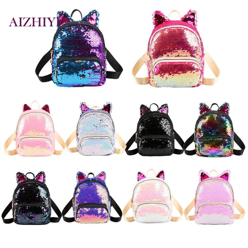 Cute Sequins Cat Ear Travel Backpacks Women Casual Shoulder School Bags Preppy Style Small Knapsack RucksackCute Sequins Cat Ear Travel Backpacks Women Casual Shoulder School Bags Preppy Style Small Knapsack Rucksack