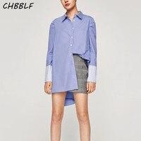 Women Elegant Striped Patchwork Long Shirts Pocket Long Sleeve Boyfriend Style Blouses Basic Tops Blusas WDD6036