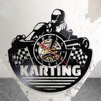 Go Kart Vintage Vinyl Record Zegar Ścienny Nowoczesny Wystrój Karting Sport czas Zegarek Zegar Ścienny Sztuki Unikalny Pomysł Na Prezent Dla Zawodników Kating
