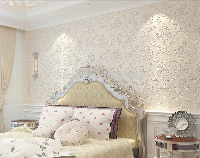Aliexpress Com Buy Non Woven Embossed Bedroom Wallpaper Modern Damask Wallpaper White Wallcovering Classic Wall Papers 3d Wallpaper For Living Room From
