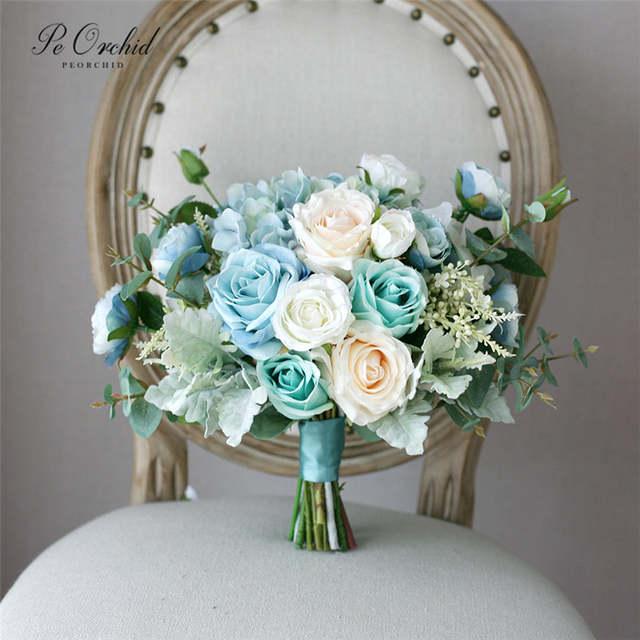 Peorchid Tiffany Blue Rose Wedding Bouquet Bride Flowers