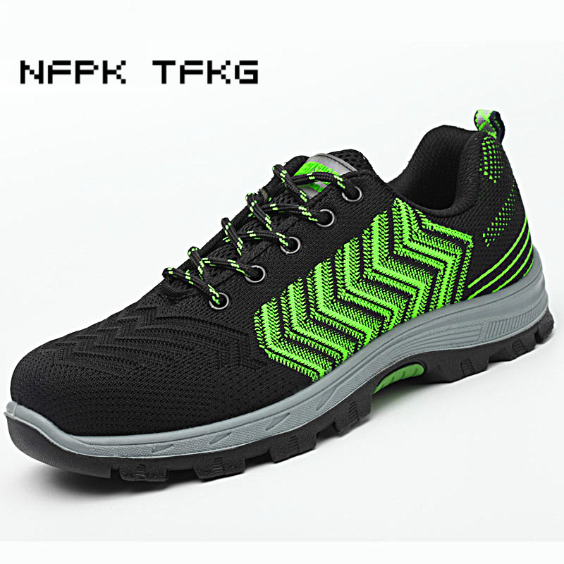 new fashion men big size steel toe covers work safety shoes non-slip breathable mesh site factory tooling security boots lace-up mesh lace panel sheer slip babydoll