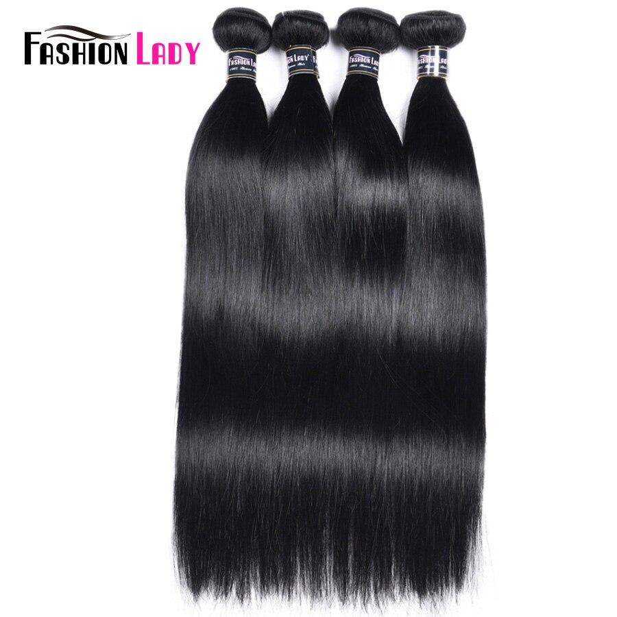 FASHION LADY Pre-Colored Peruvian Straight Hair Weaving 4 Bundles Jet Black Human Hair Bundles 1# Non-Remy Hair