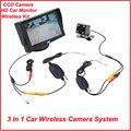 Carro sem fio estacionamento assistência Monitor de vídeo, 3 em 1 câmera de visão traseira do carro sem fio de 2.4 Ghz sem fio Kit câmera