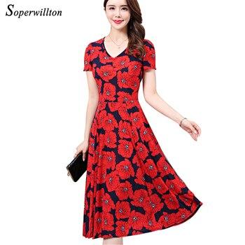 Women Vintage Bohemian Summer Dress Large Size 4XL 5XL Floral Midi Dresses Slim Casual Red Black Ladies Dress Femme vestidos