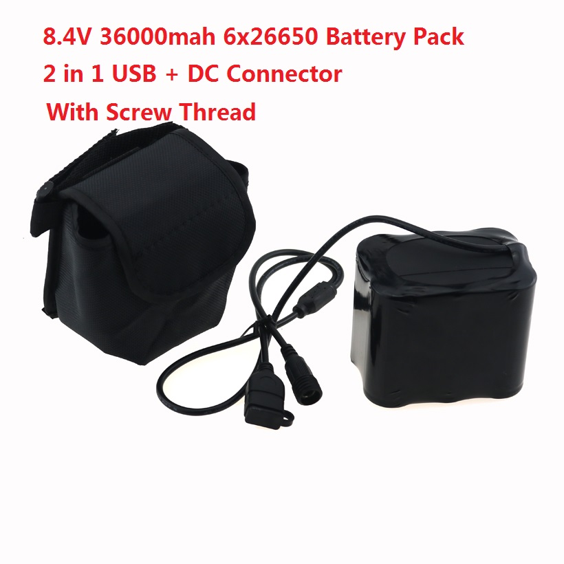 36000mAh 26650 USB + DC 5.5mm Bicycle Light Battery Pack 8.4V 6x 26650 Power for CREE XM-L X2 X3 T6 LED Lamps With Screw Thread