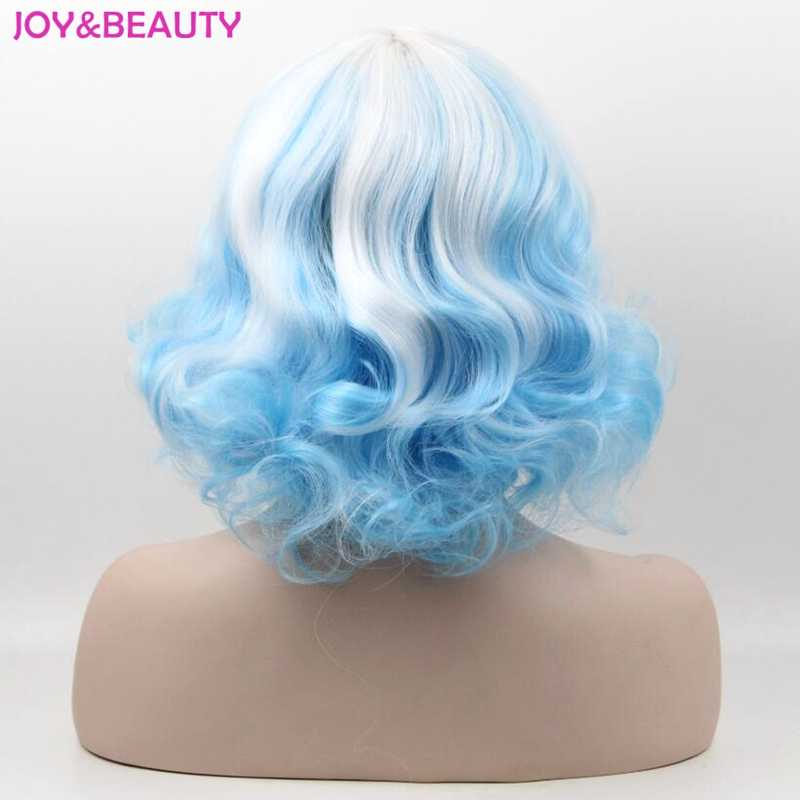 JOY & BEAUTY 20 см белый синий смешанный белый красный Короткие вьющиеся синтетические волосы косплей парики для Harajuku вечерние парики термостойкие волосы
