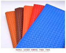 Weaving pattern faux synthetic pvc leather fabric for holographic shoes,leatherette artificial PU soft DIY,YM008