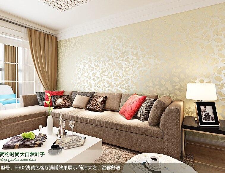 Moderno e minimalista folha n o tecido quarto papel de for Sofa para sala de tv