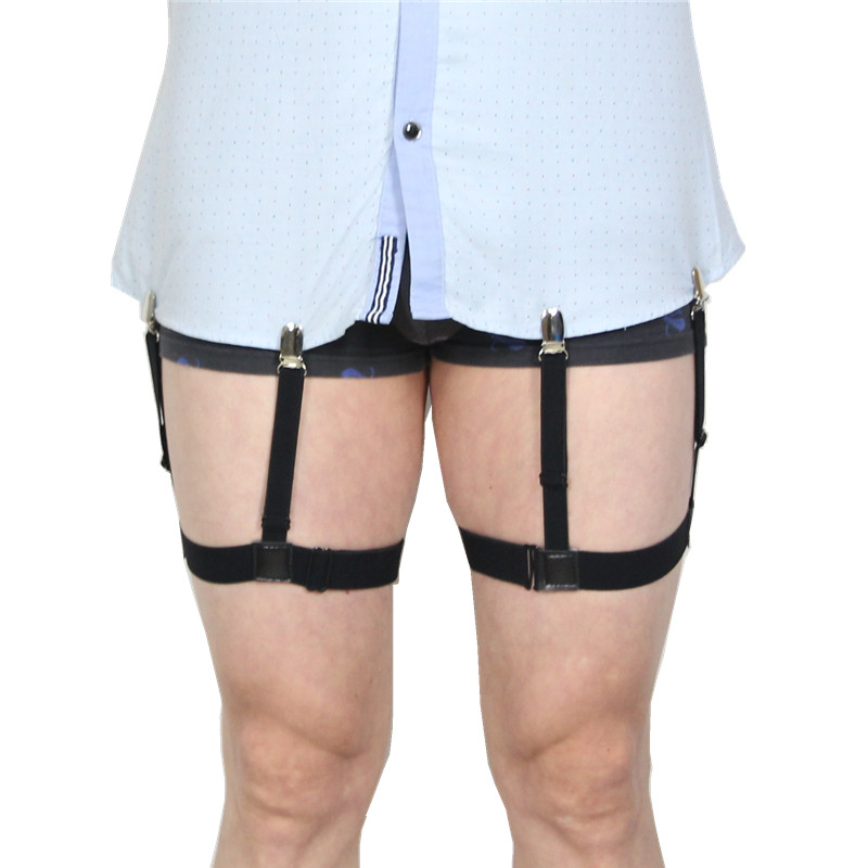 Mens Shirt Stays Garters Nylon Adjustable Braces Stirrup Non-slip Elastic Leg Belt Men Suspenders Shirt Holders(China)