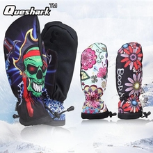 Women Flowers Printed Ski Gloves Winter Waterproof Anti-slip Warm Motorcycle Cycling Gloves Outdoor Sports Snow Skiing Gloves