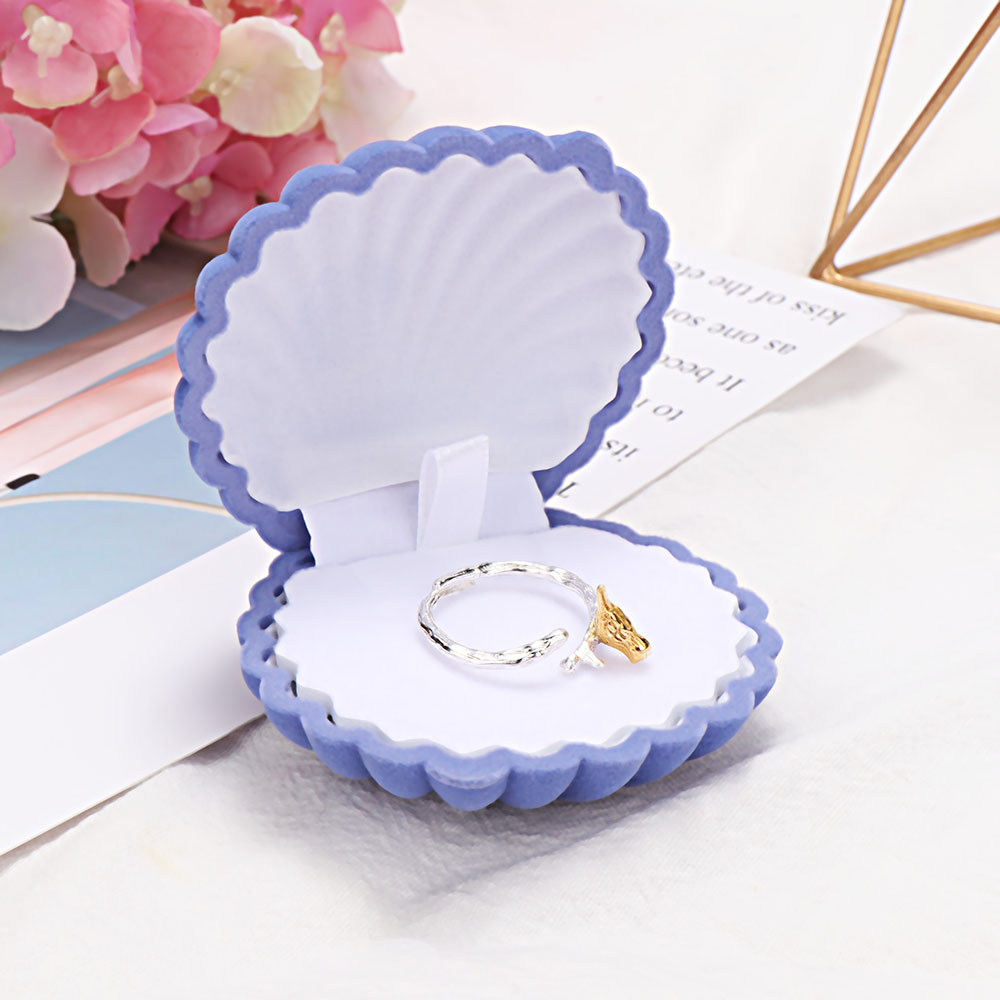 Lovely Crown Shell Jewelry Box Wedding Necklace Earring Box Velvet Valentine Gift Display Shell Jewellery Case