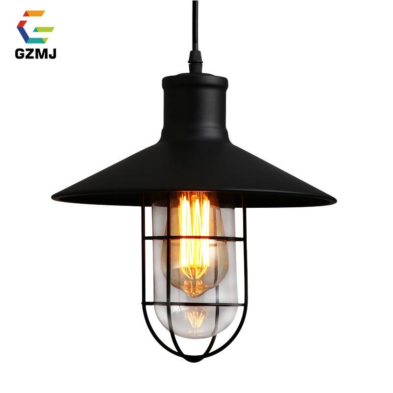 GZMJ Vintage Metal Pendant Lights 90-260V Industrial Decor Dining Room Hanglamp E27 Bulb Study/Bedroom Retro Hanging Lamp