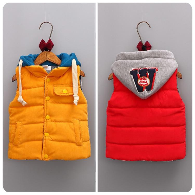 2016 Autumn New Pattern Korean Childrens Garment Men Girl Baby M Word Hats Vest Children Thickening Vest Waistcoat Vest