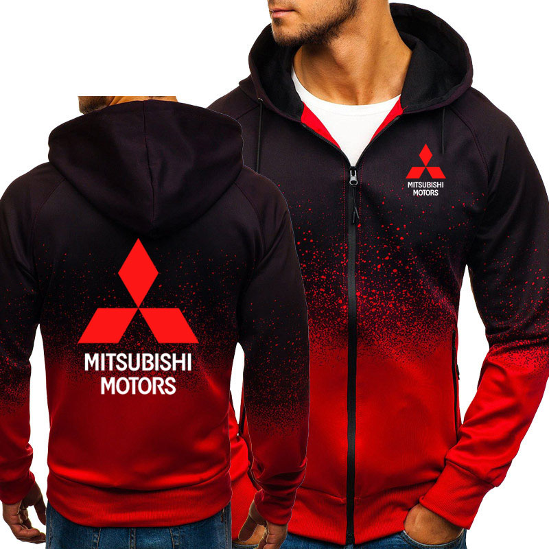 Hoodies Men Mitsubishi Car Logo Print Casual HipHop Harajuku Gradient Color Hooded Fleece Sweatshirts Zipper Jacket Man Clothing