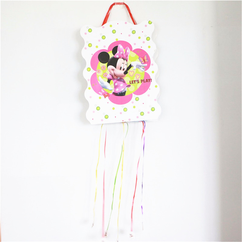 1PC 40*29cm Minnie Mouse Paper Folding Pinata Children Girls Boys Birthday Party Supplier Happy Birthday Decoration