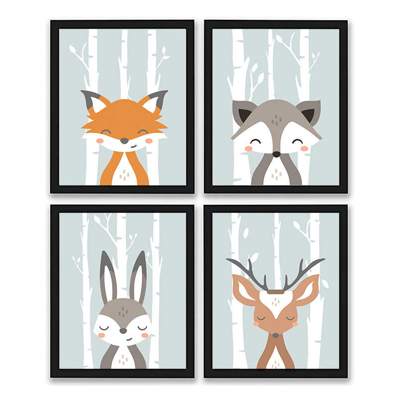 Set of 4 Cartoon Animal Posters and Prints Kids Room Decoration Canvas Painting Nursery Wall Art Cute fox deer Picture NUR19-1