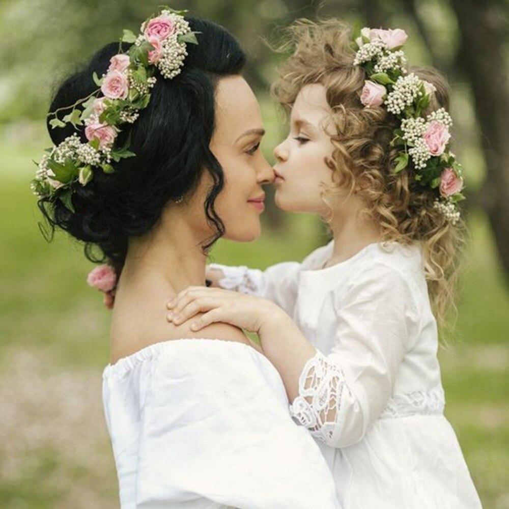 יפה אם ולתינוק בוהמיה פרח נשים ילדה אבזרים לשיער 2018 גומייה לשיער כיסוי ראש כתר פרחים לחתונה גרלנד זר