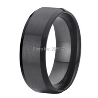 8mm Fashion Jewelry Handmade Mens Black Pure Titanium Rings Wedding Bands Rings Alliance Anel Titan Ringe