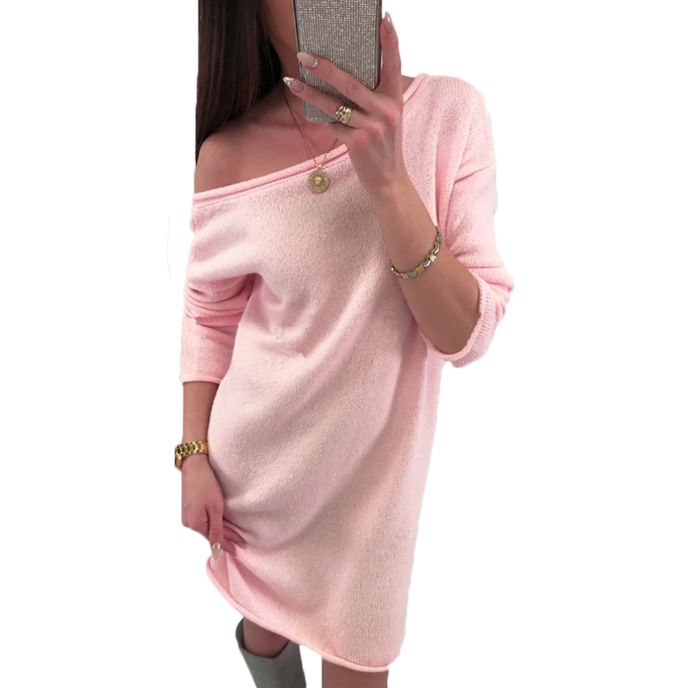 Women Lady Sweater Dress Spring Long Sleeve Casual Loose Knitted Sweater Jumper Home Dress Pink Gray Thick Casual Tops Solid Hot