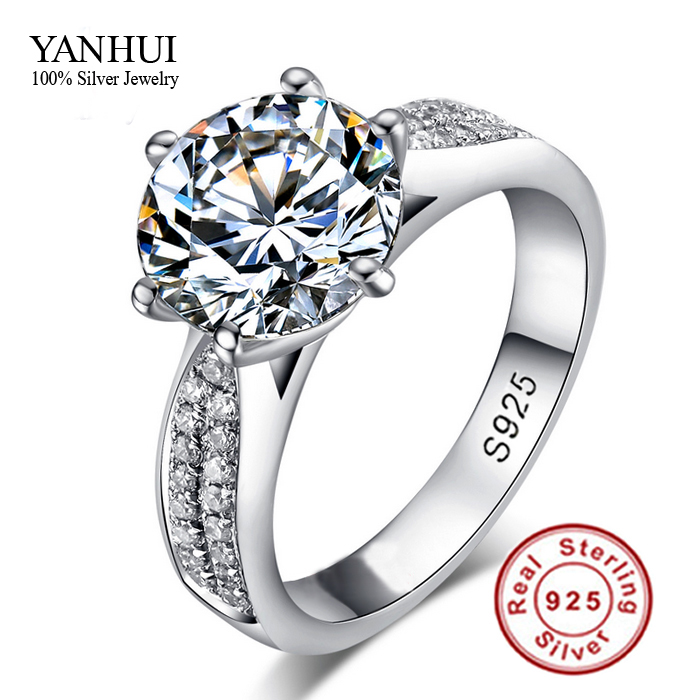 90 OFF Never Fading Real 925 Sterling Silver Rings Women 2 Carat CZ Diamond Engagement Ring