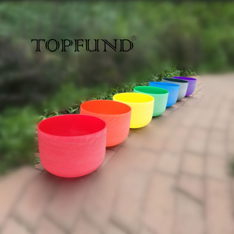 TOPFUND Chakra Set of 7PCS Colored Frosted Crystal Singing Bowls --all 10-CDEFGAB chakra tuned set of 7 frosted gem fused quartz crystal singing bowls 8 12 8a b g 10 c d e and 12 f