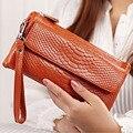 2017 Hot Women Clutch Bag Serpentine Prints Genuine Cow Leather Wallets Fashion Wristlet Change Phone Purse Handbag 712