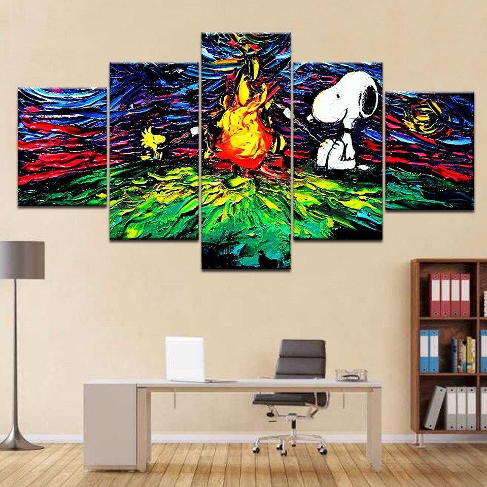 5 Панель дог на гриле огонь абстрактного c Книги по искусству Ун Современный домашний декор стены холст Picture Книги по искусству HD печати живо...