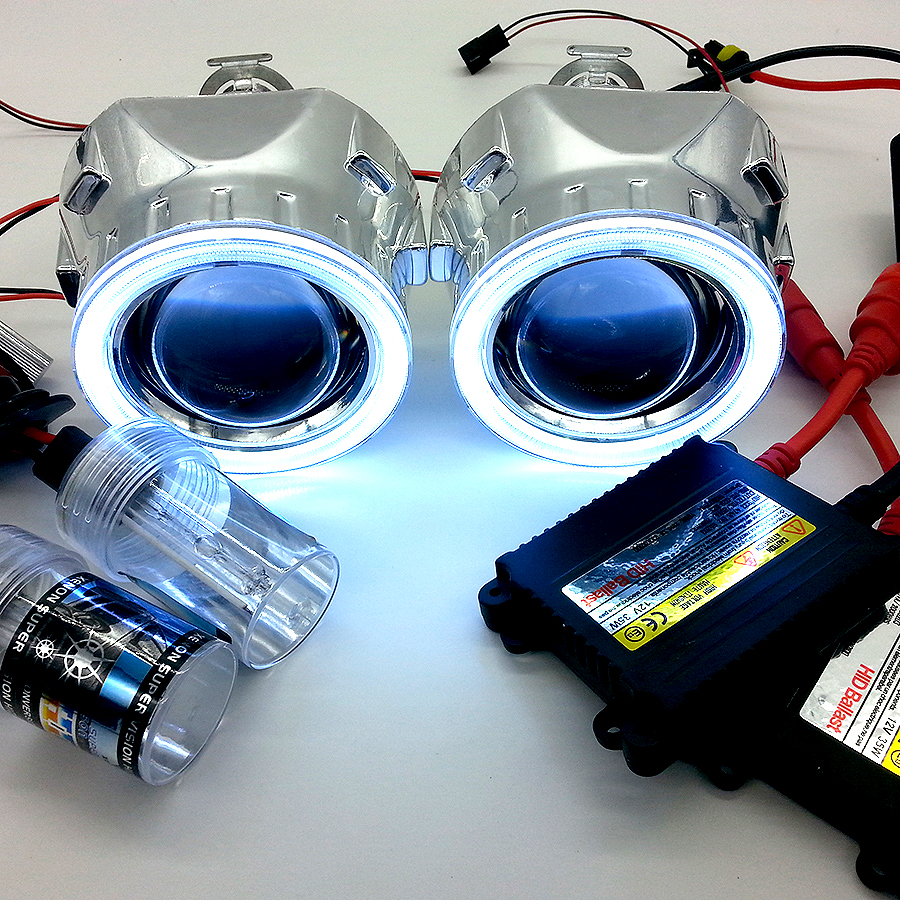 Bi xenon HID 2 5inch projector headlight Lens AC 35W Complete Kit with COB Angel Eyes